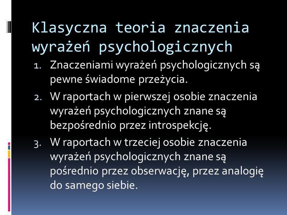 Klasyczna teoria znaczenia wyrażeń psychologicznych