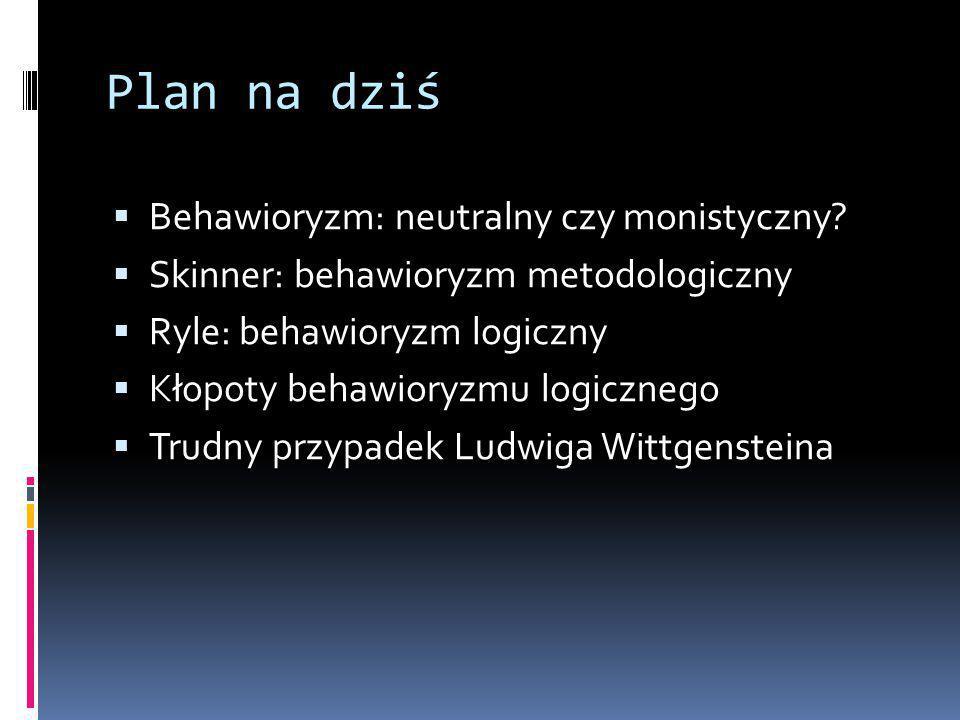 Plan na dziś Behawioryzm: neutralny czy monistyczny