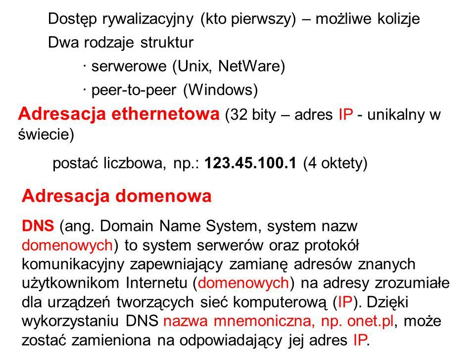 Adresacja ethernetowa (32 bity – adres IP - unikalny w świecie)