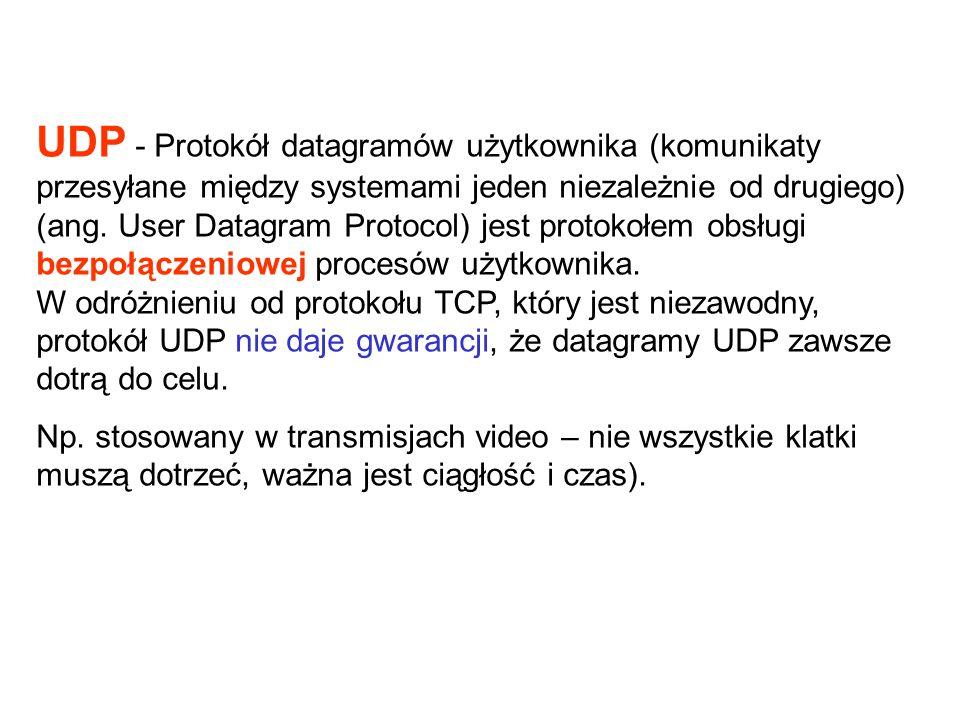 UDP - Protokół datagramów użytkownika (komunikaty przesyłane między systemami jeden niezależnie od drugiego) (ang. User Datagram Protocol) jest protokołem obsługi bezpołączeniowej procesów użytkownika. W odróżnieniu od protokołu TCP, który jest niezawodny, protokół UDP nie daje gwarancji, że datagramy UDP zawsze dotrą do celu.