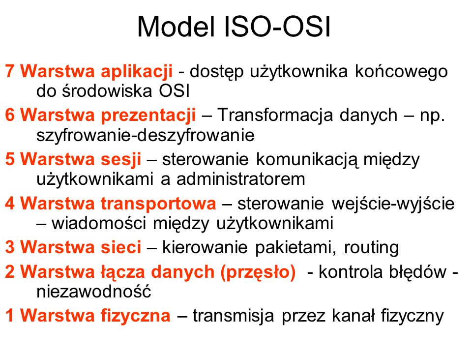 Model ISO-OSI 7 Warstwa aplikacji - dostęp użytkownika końcowego do środowiska OSI.