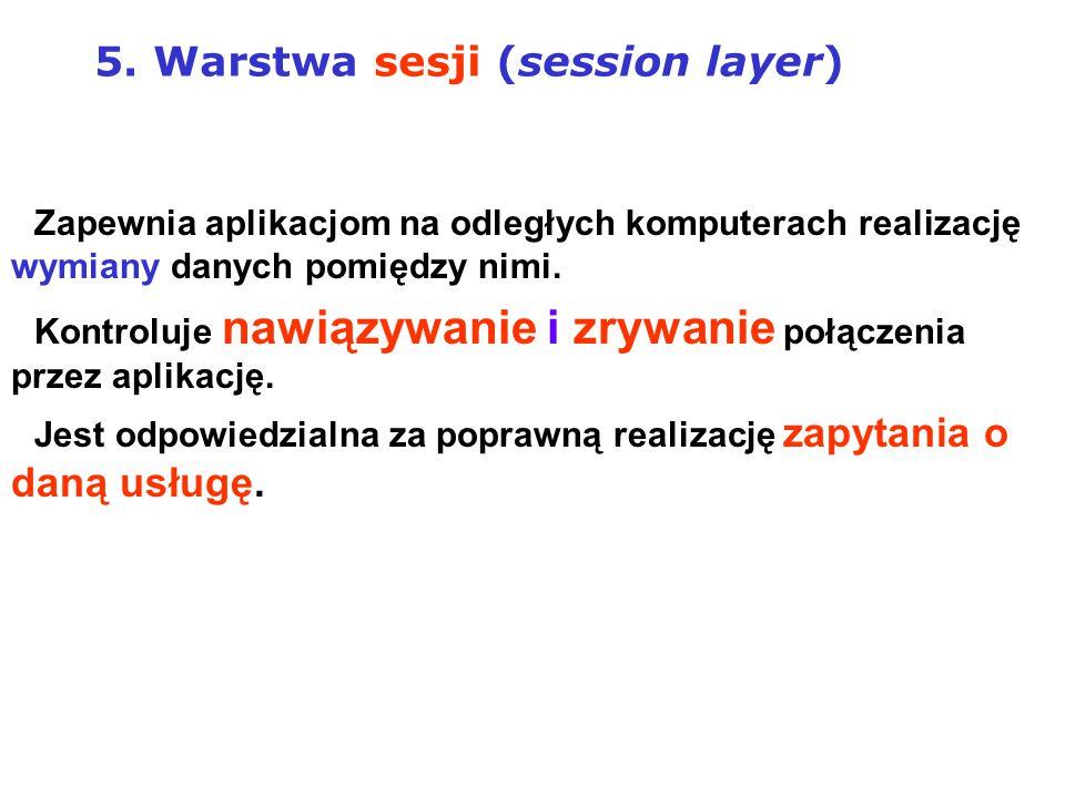 5. Warstwa sesji (session layer)