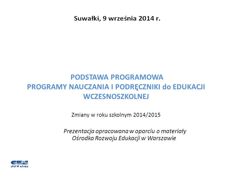 Zmiany w roku szkolnym 2014/2015