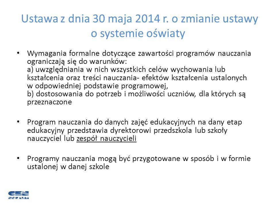 Ustawa z dnia 30 maja 2014 r. o zmianie ustawy o systemie oświaty