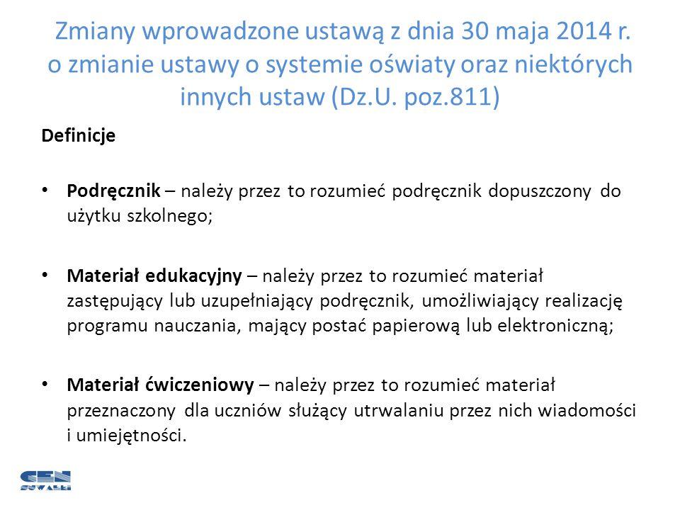 Zmiany wprowadzone ustawą z dnia 30 maja 2014 r