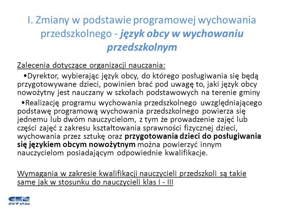 I. Zmiany w podstawie programowej wychowania przedszkolnego - język obcy w wychowaniu przedszkolnym
