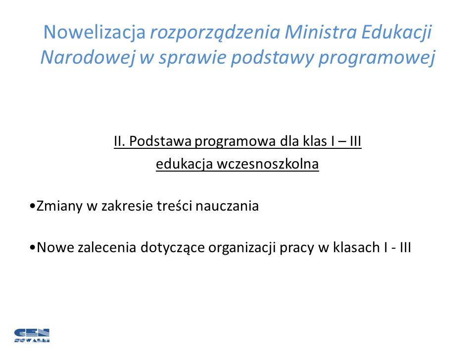 Nowelizacja rozporządzenia Ministra Edukacji Narodowej w sprawie podstawy programowej