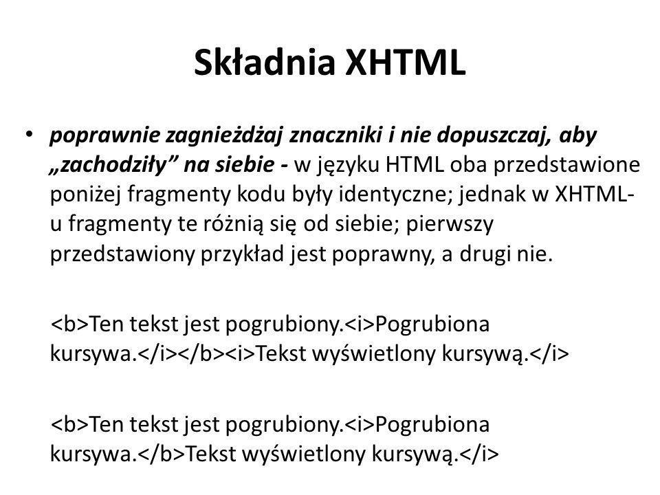 Składnia XHTML
