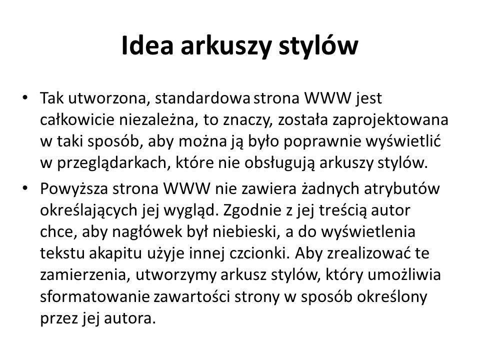 Idea arkuszy stylów
