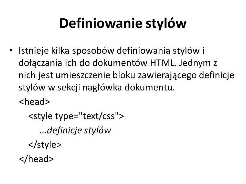 Definiowanie stylów