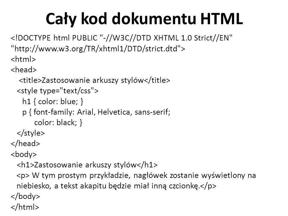 Cały kod dokumentu HTML
