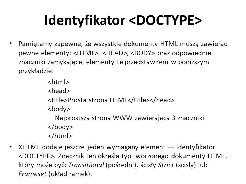 Identyfikator <DOCTYPE>