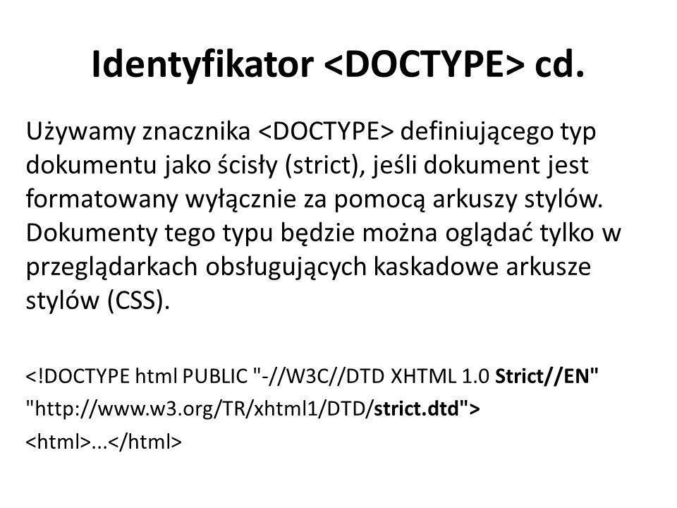 Identyfikator <DOCTYPE> cd.