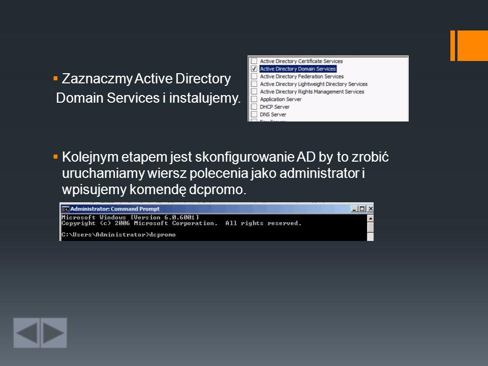 Zaznaczmy Active Directory