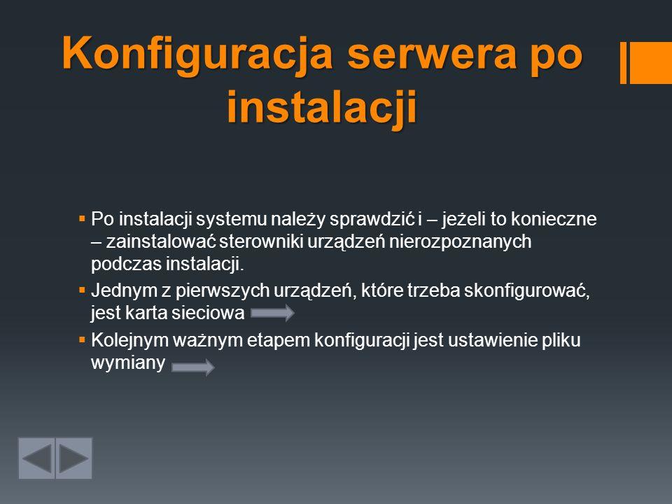 Konfiguracja serwera po instalacji