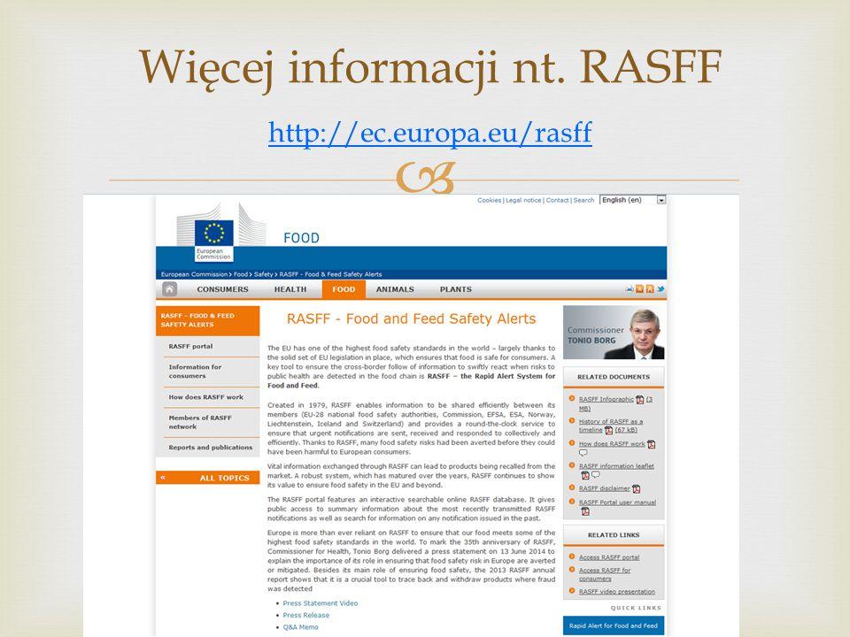 Więcej informacji nt. RASFF http://ec.europa.eu/rasff