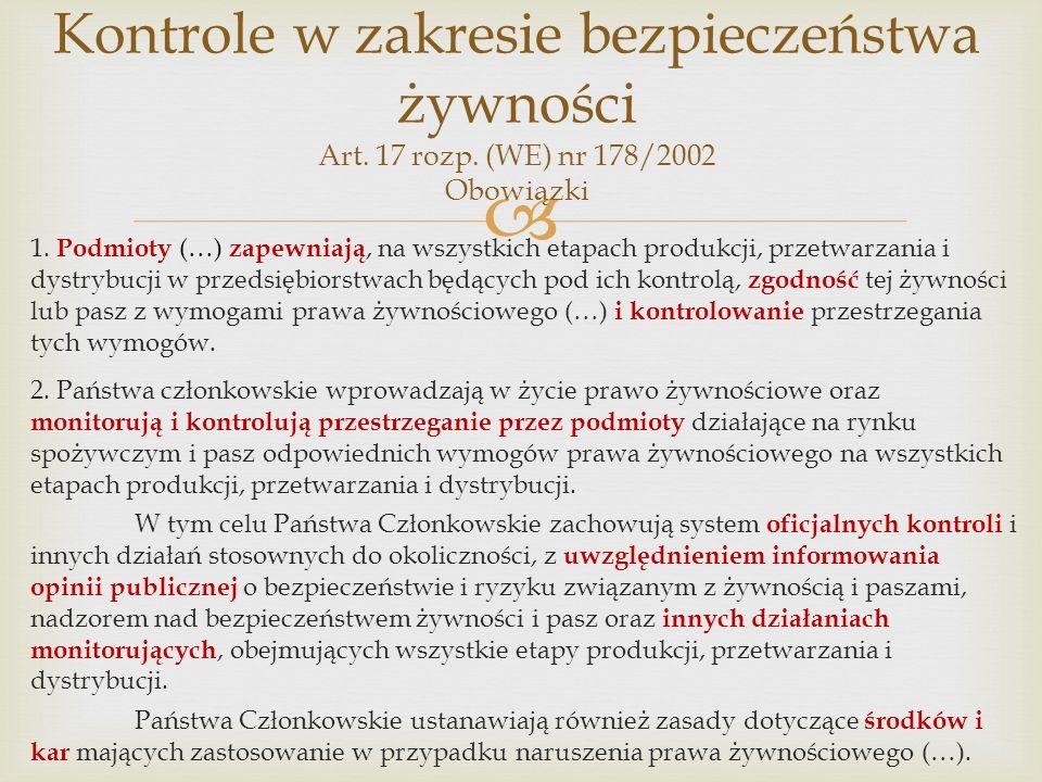Kontrole w zakresie bezpieczeństwa żywności Art. 17 rozp