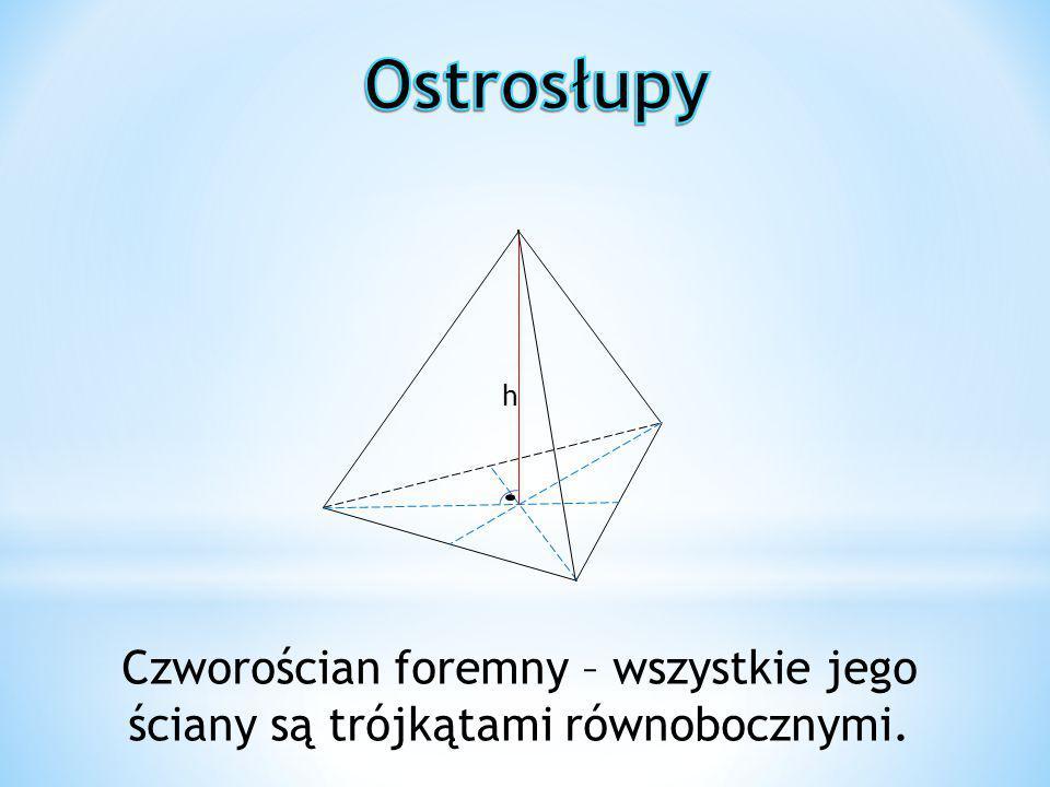 Ostrosłupy h. Szczególnym przykładem ostrosłupa jest: Czworościan foremny – wszystkie jego ściany są trójkątami równobocznymi.