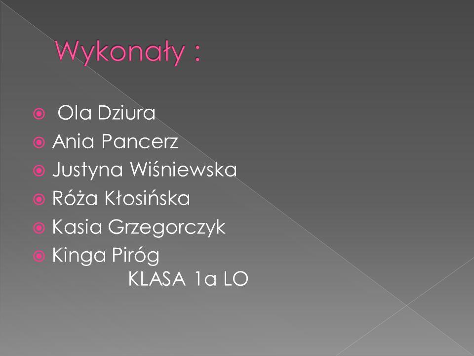 Wykonały : Ola Dziura Ania Pancerz Justyna Wiśniewska Róża Kłosińska