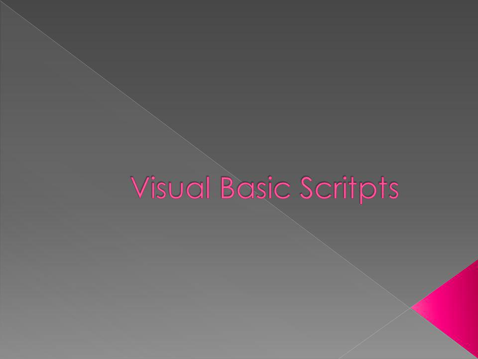 Visual Basic Scritpts