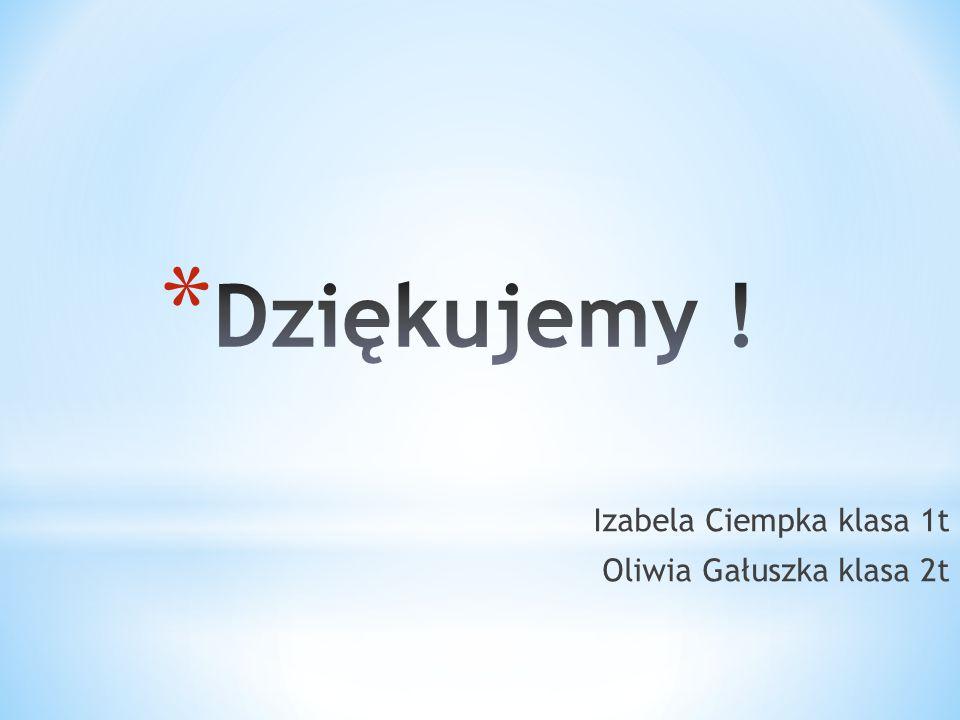 Dziękujemy ! Izabela Ciempka klasa 1t Oliwia Gałuszka klasa 2t