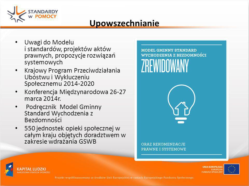 Upowszechnianie Uwagi do Modelu i standardów, projektów aktów prawnych, propozycje rozwiązań systemowych.