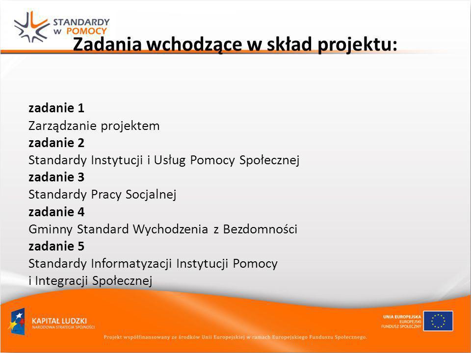 Zadania wchodzące w skład projektu: