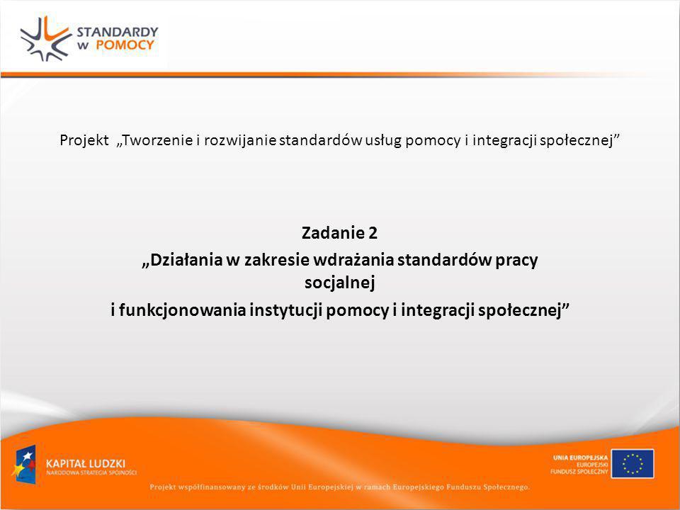 """""""Działania w zakresie wdrażania standardów pracy socjalnej"""