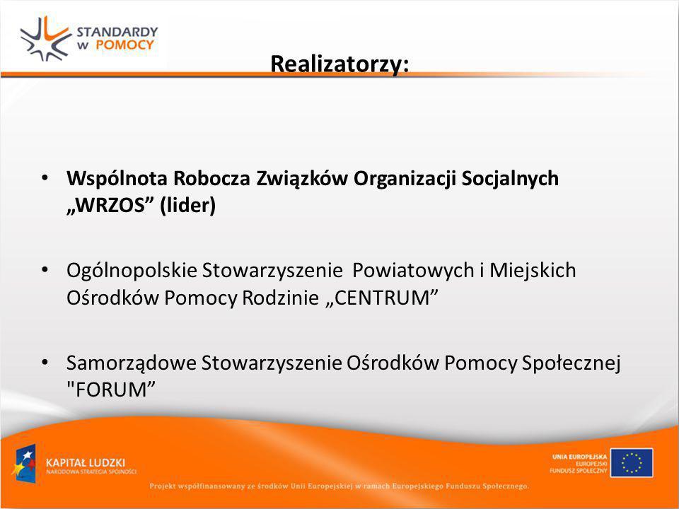 """Realizatorzy: Wspólnota Robocza Związków Organizacji Socjalnych """"WRZOS (lider)"""
