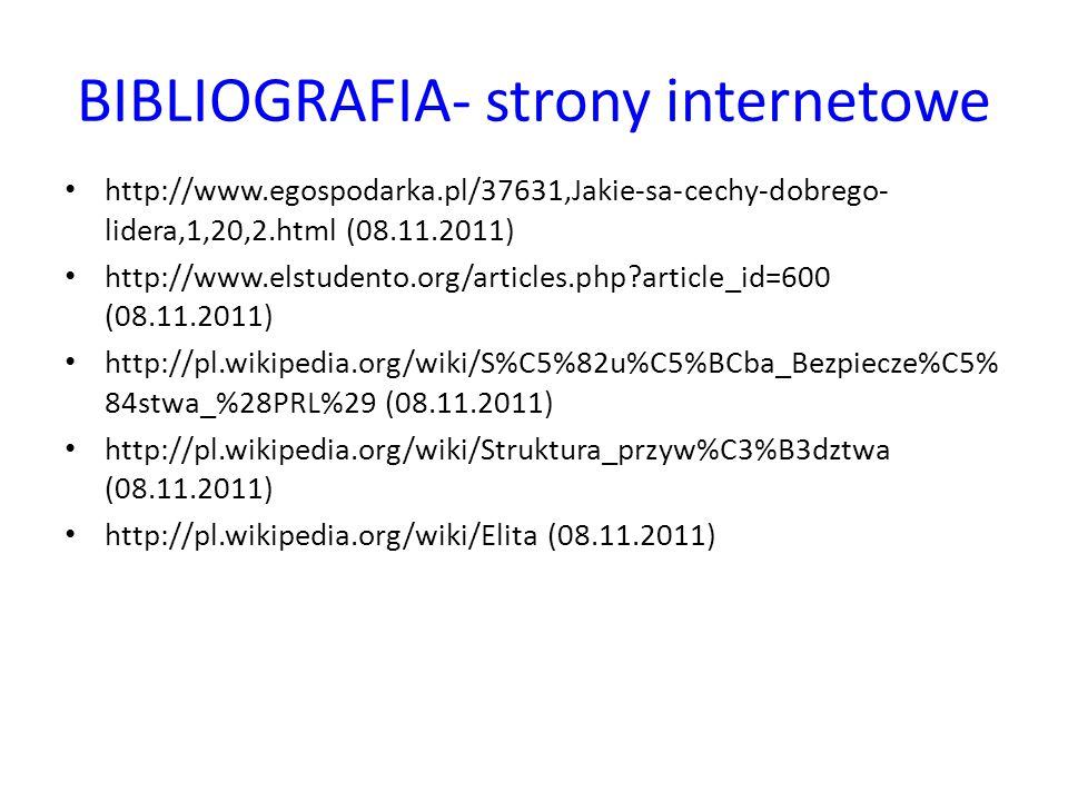 BIBLIOGRAFIA- strony internetowe