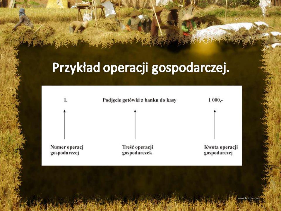 Przykład operacji gospodarczej.