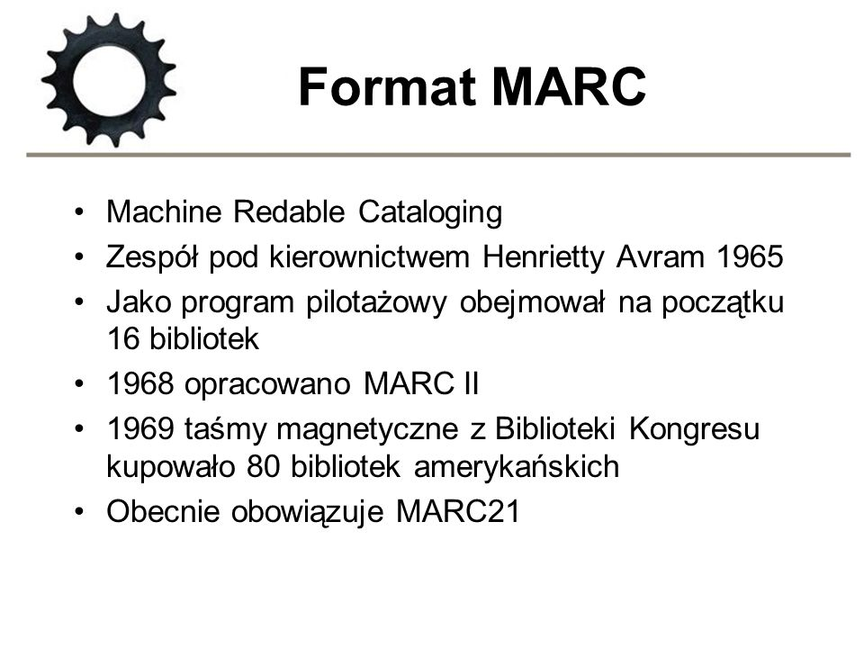 Format MARC Machine Redable Cataloging