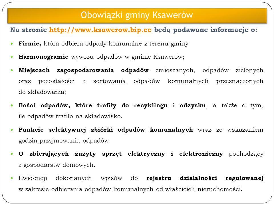 Na stronie http://www.ksawerow.bip.cc będą podawane informacje o: