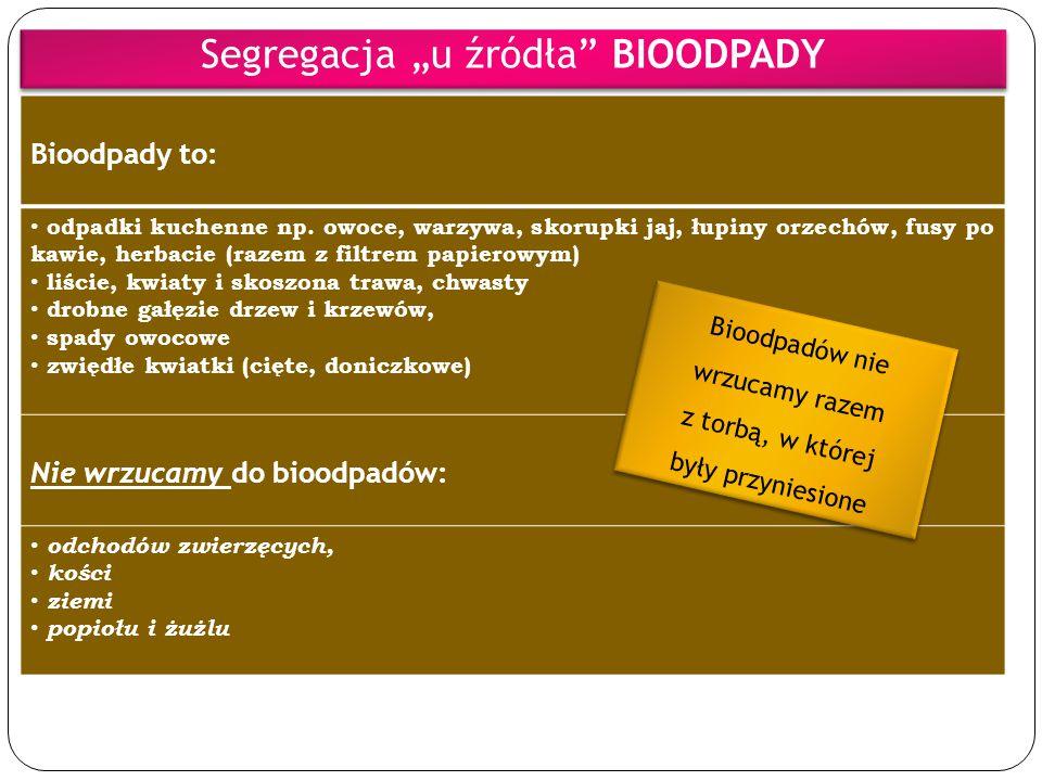 """Segregacja """"u źródła BIOODPADY"""