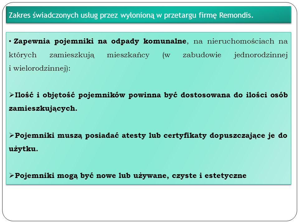 Zakres świadczonych usług przez wyłonioną w przetargu firmę Remondis.