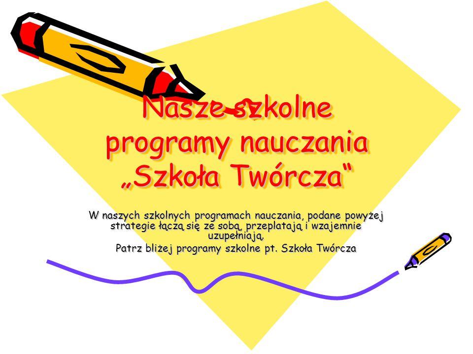 """Nasze szkolne programy nauczania """"Szkoła Twórcza"""