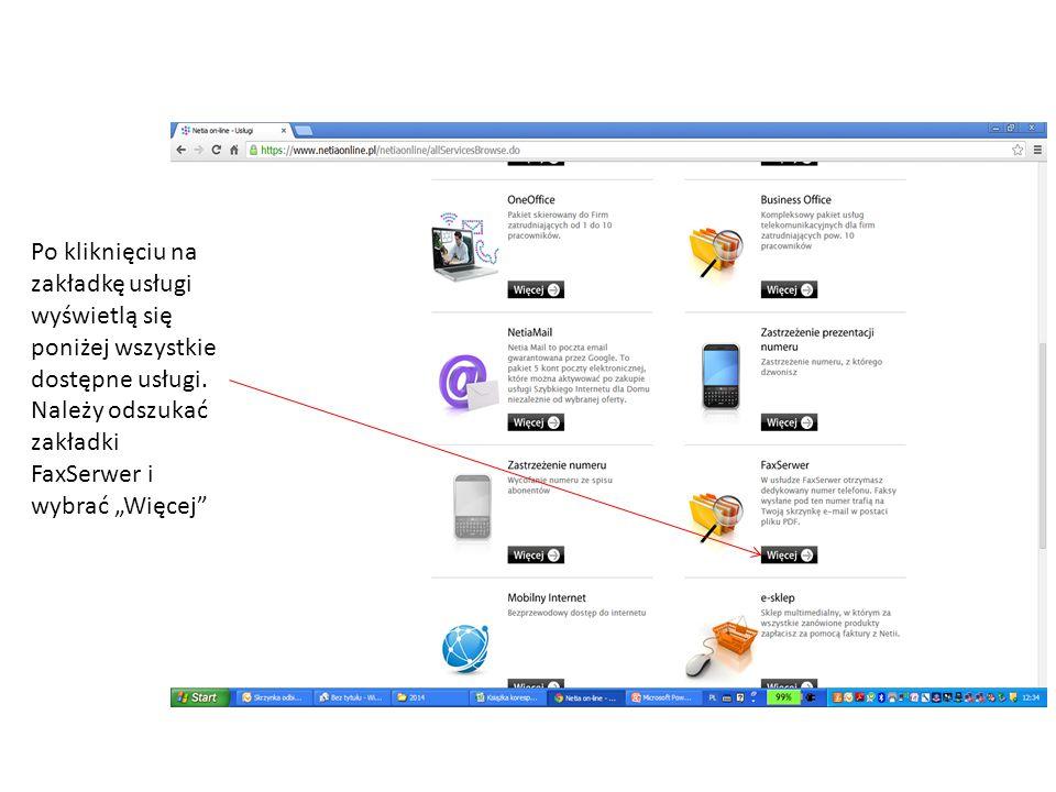 Po kliknięciu na zakładkę usługi wyświetlą się poniżej wszystkie dostępne usługi.