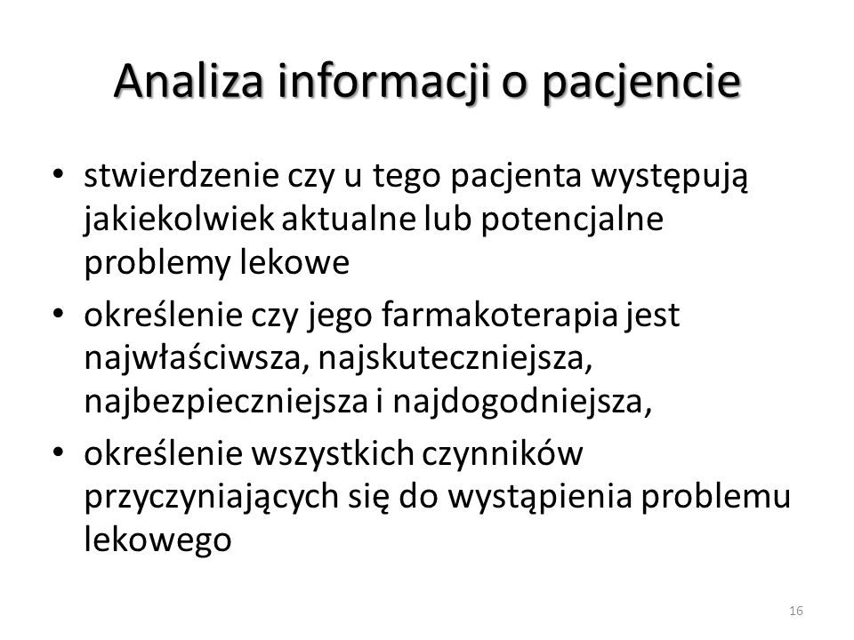 Analiza informacji o pacjencie