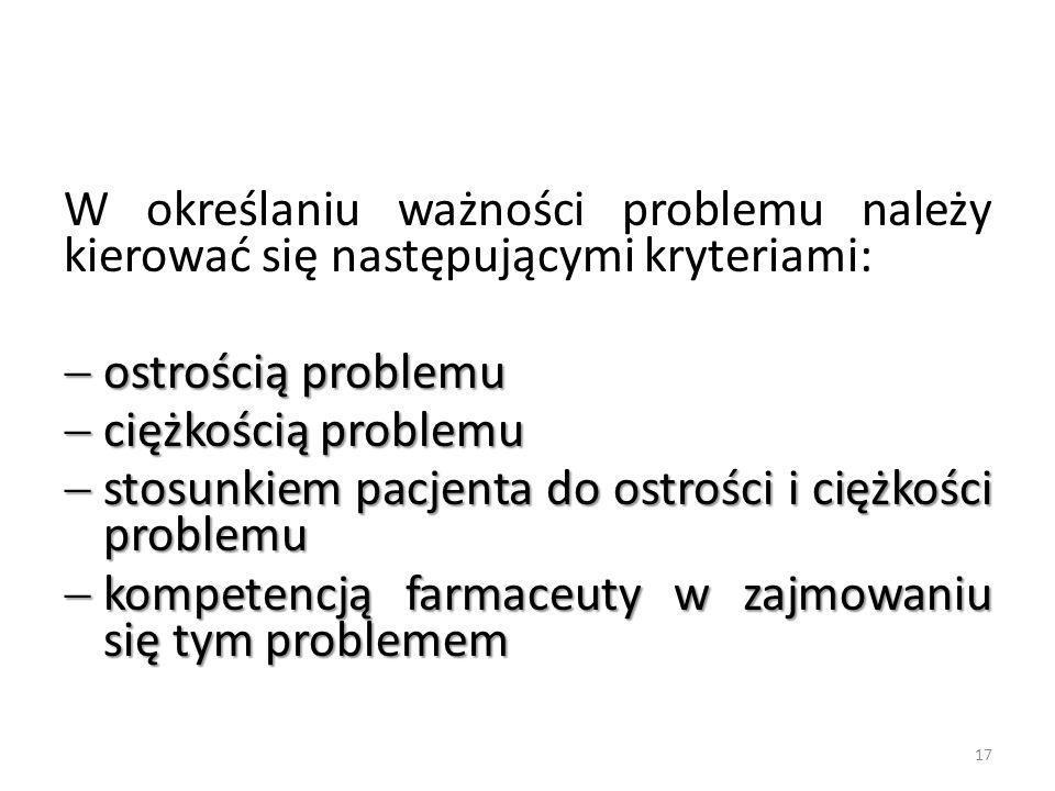 W określaniu ważności problemu należy kierować się następującymi kryteriami: