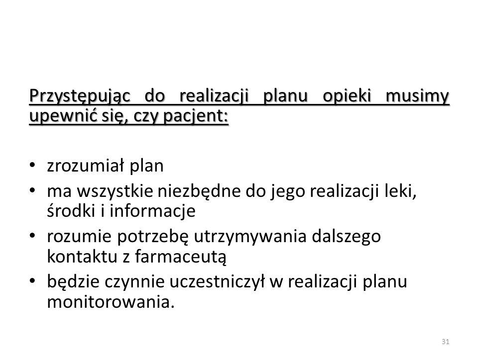 Przystępując do realizacji planu opieki musimy upewnić się, czy pacjent:
