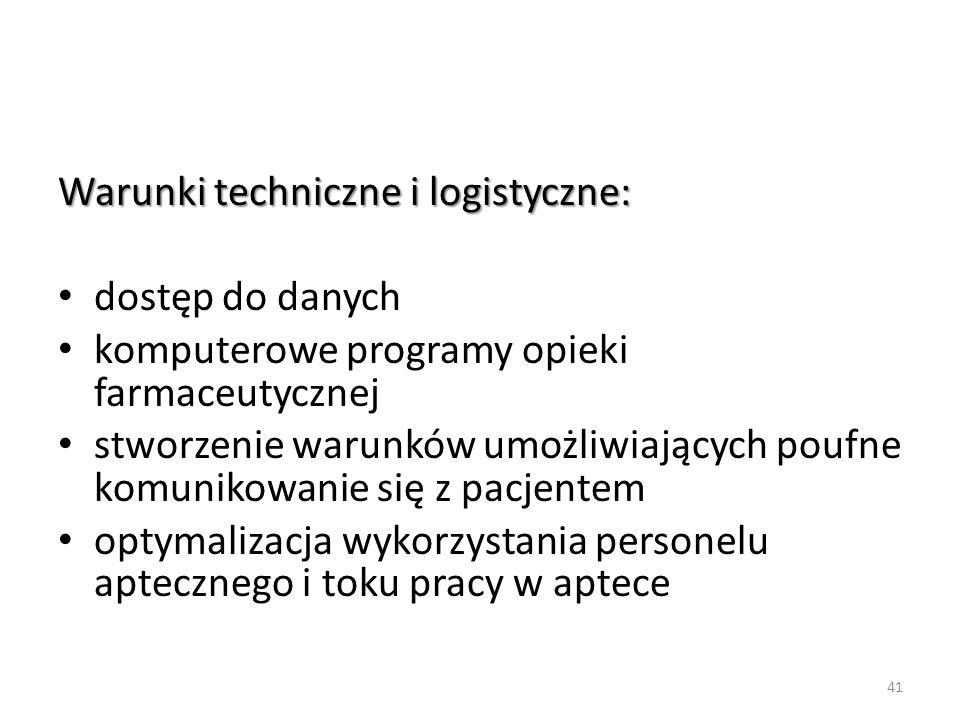 Warunki techniczne i logistyczne: