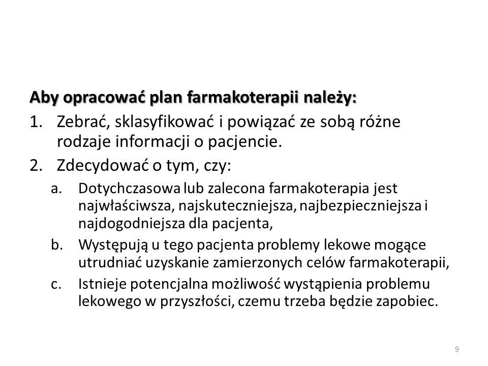 Aby opracować plan farmakoterapii należy: