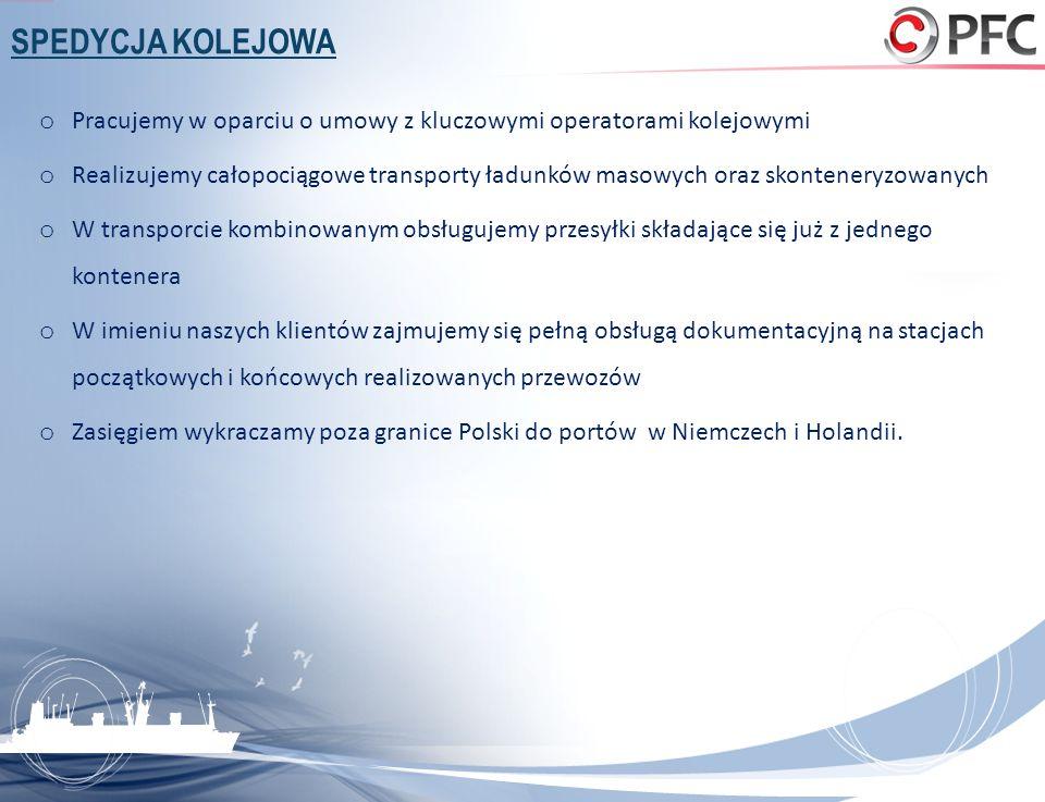 SPEDYCJA KOLEJOWA Pracujemy w oparciu o umowy z kluczowymi operatorami kolejowymi.