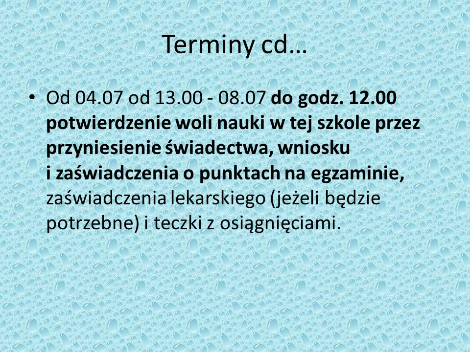 Terminy cd…