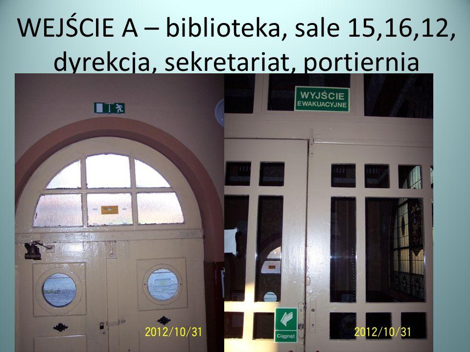 WEJŚCIE A – biblioteka, sale 15,16,12, dyrekcja, sekretariat, portiernia