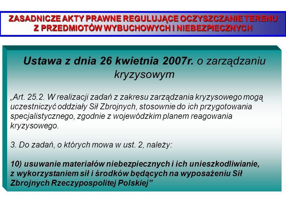 Ustawa z dnia 26 kwietnia 2007r. o zarządzaniu kryzysowym