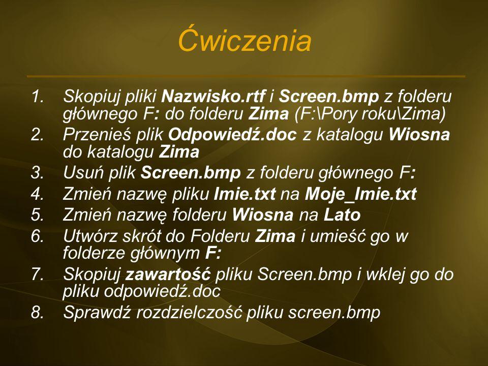 Ćwiczenia Skopiuj pliki Nazwisko.rtf i Screen.bmp z folderu głównego F: do folderu Zima (F:\Pory roku\Zima)
