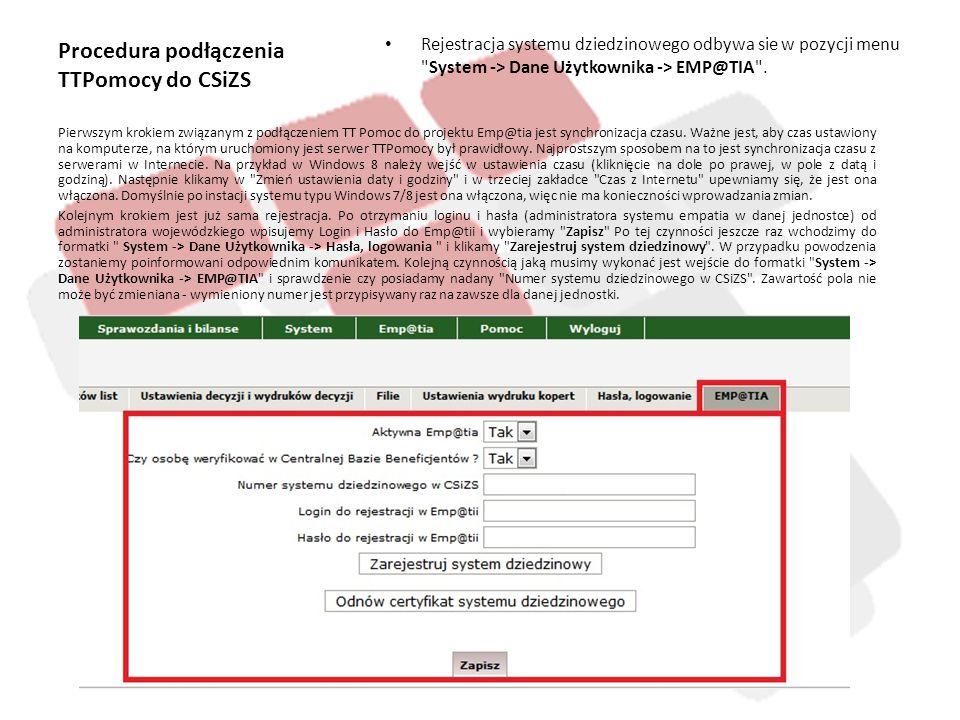 Procedura podłączenia TTPomocy do CSiZS