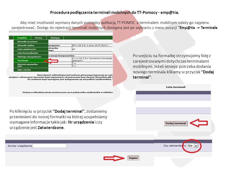 Procedura podłączenia terminali mobilnych do TT-Pomocy - emp@tia