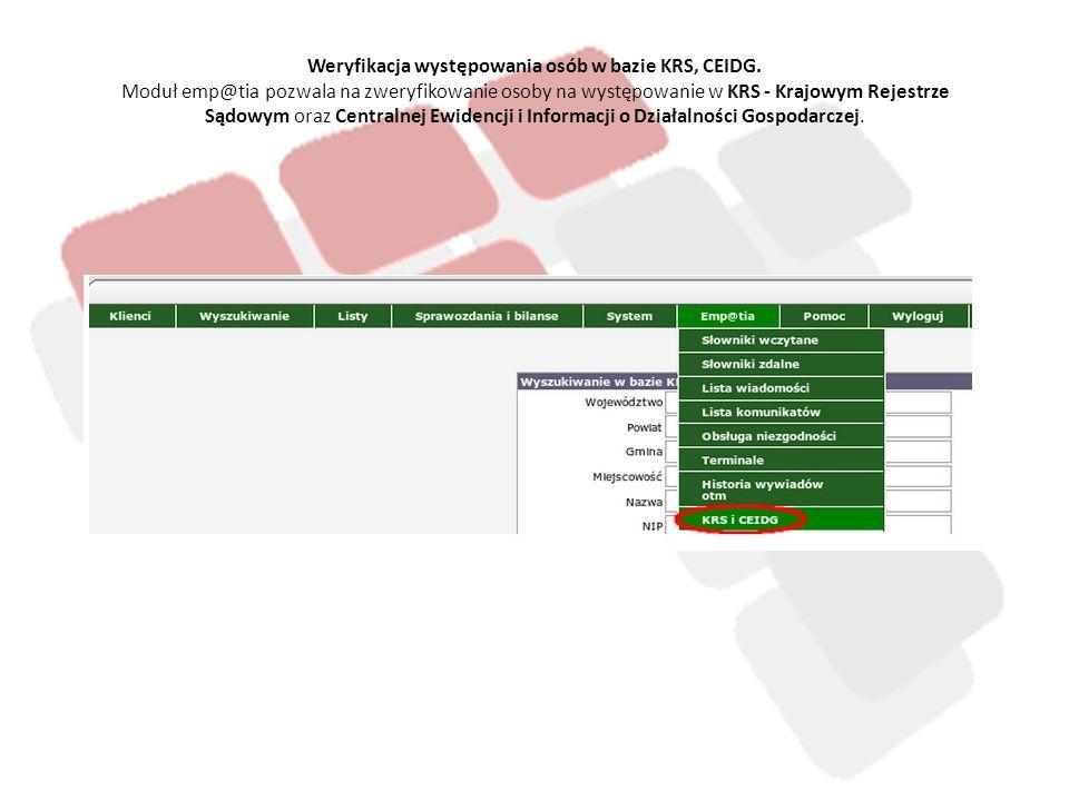 Weryfikacja występowania osób w bazie KRS, CEIDG
